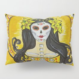 Yellow Lily art nouveau day of the dead sugar skull princess with lilies in her hair Pillow Sham
