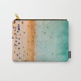 People On Algarve Beach In Portugal, Drone Photography, Aerial Photo, Ocean Wall Art Print Carry-All Pouch