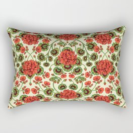 Red Geraniums -  Vintage-Inspired Floral Pattern For Spring Rectangular Pillow
