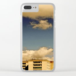 Office block and clouds Clear iPhone Case