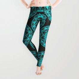 Mandala artwork - turquoise and black Leggings
