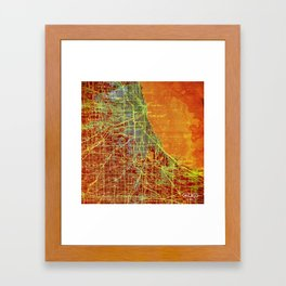 10-Chicago Illinois 1947, old map, orange and red Framed Art Print