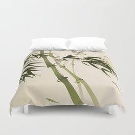 Oriental style painting, bamboo branches Duvet Cover