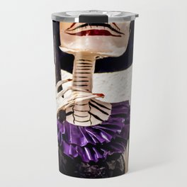 Day of the Dead Large Skeleton Lady with Purple and Black Dress and Orange Feather Shawl Travel Mug