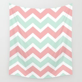 Zig Zag Chevron Soft blue & soft pink waves pattern Wall Tapestry