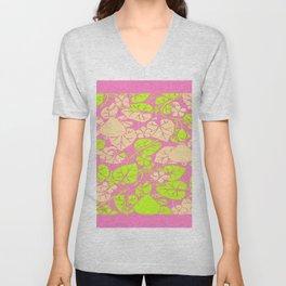 Delicate Pink Garden Art Lime Color Vines-leaves pattern Unisex V-Neck