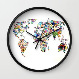 World map full of flowers and birds Wall Clock