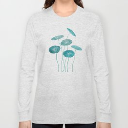 whorled umbrella plant leaf watercolor Long Sleeve T-shirt