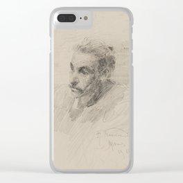 ALEXANDR VLADIMIROVICH MAKOVSKI, PORTRAIT OF A MAN. Clear iPhone Case