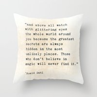 roald dahl Throw Pillows featuring Glittering Eyes by ShadeTree Photography