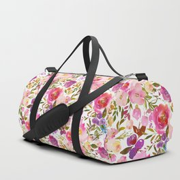 Modern pink teal green hand painted leaves floral Duffle Bag