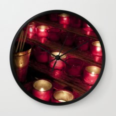 Red glowing candles Wall Clock