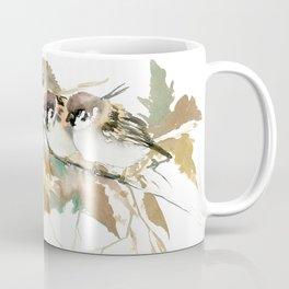Sparrows and Fall Tree, three birds, brown green fall colors Coffee Mug