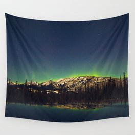 Northern Light Green Aurora Over Dark Arctic Mountains Landscape Wall Tapestry