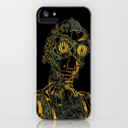 Geometric Black and Gold Robot iPhone Case