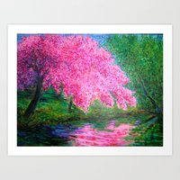 mirror, mirror on the river tell me who is the prettiest tree of all? Art Print