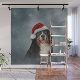 Bernese Mountain Dog in red hat of Santa Claus Wall Mural