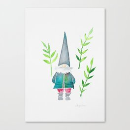 Summer Gnome - Green Leaves Canvas Print