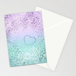Sparkling MERMAID Girls Glitter Heart #1 #decor #art #society6 Stationery Cards