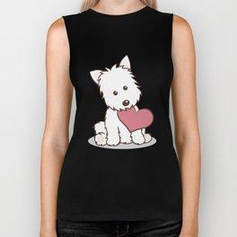 Westie Dog with Love Illustration Biker Tank