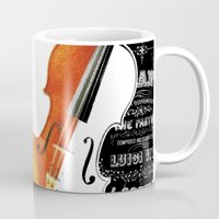 violin Mugs featuring Violin by My Studio