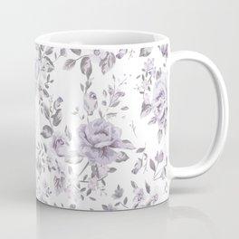FLORAL VINTAGE ROSES MAUVE WHITE Coffee Mug