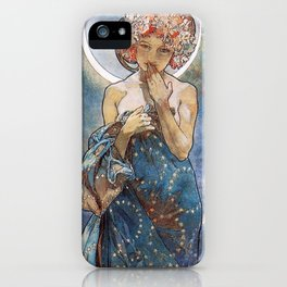Alphonse Mucha Moonlight Art Nouveau iPhone Case