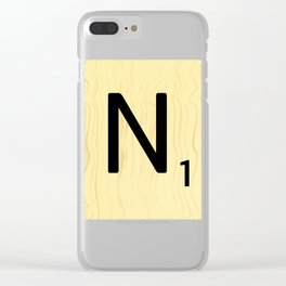 Scrabble N Art, Large Scrabble Tile Initials Clear iPhone Case