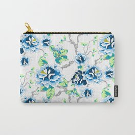 Chinoiserie Ming style Blue Floral on White Pattern Spring Flowers Shabby Chic Carry-All Pouch