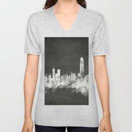 Hong Kong Skyline Unisex V-Neck