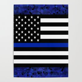 Blue Police Flag with Officers Poster