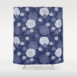 Indigo Chrysanthemums Shower Curtain