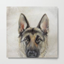 German Shepard Dog illustration original painting print Metal Print