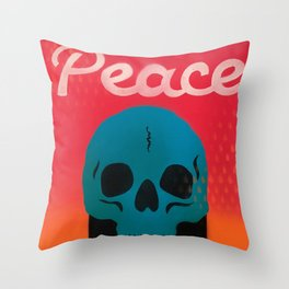 Peace Out Skull Throw Pillow