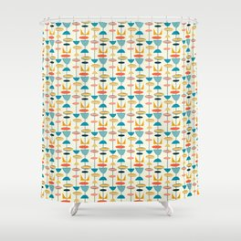 Mid century modern abstract shapes pattern Shower Curtain