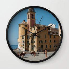 Pastel colored church in the Amalfi coast | travel photography print | Pastel sea side in, Italy | Fine art Print Wall Clock
