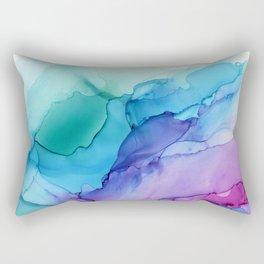 Aqua Magenta Violet Abstract Watercolor  Ink Rectangular Pillow