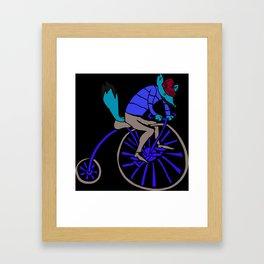 Fox on Bike Framed Art Print