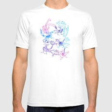 Birds White SMALL Mens Fitted Tee