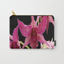 orchid flower branch pink exotic black Carry-All Pouch