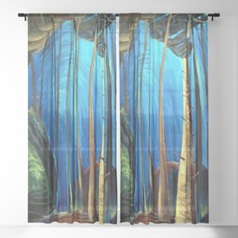 Big Sky Country, Forest Morning Blue portrait painting by Emily Carr Sheer Curtain