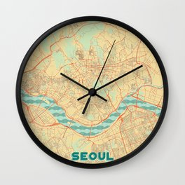 Seoul Map Retro Wall Clock