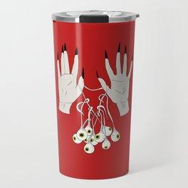 Creepy Hands Holding Eyes Travel Mug