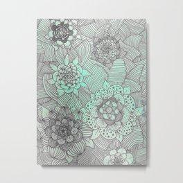 Faded Blue Flowers Metal Print
