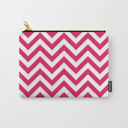 Raspberry Red Chevrons Pattern Carry-All Pouch