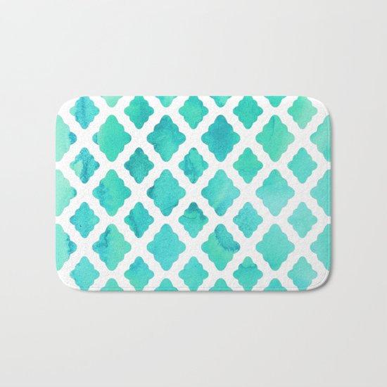 Watercolor Mint Diamonds Bath Mat