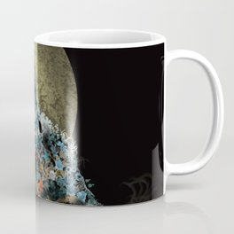 floral animals howling wolf Coffee Mug