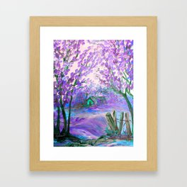Purple Abstract Landscape with Trees Framed Art Print