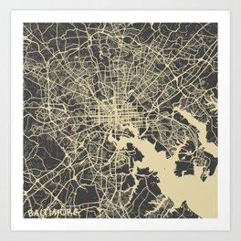 Baltimore map yellow Art Print