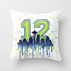 Seattle 12th Man Art Skyline Watercolor Throw Pillow